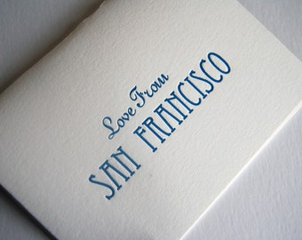 SALE - Letterpress greeting card - Love From San Francisco