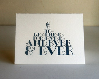 Together Forever - Letterpress congratulations wedding card - blank inside