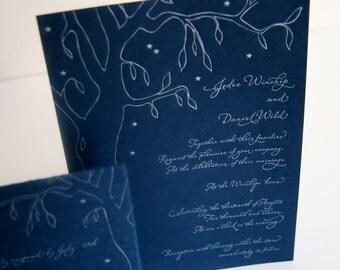 Tree Letterpress Wedding Invitation - Colorado Night
