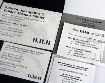Custom Letterpress Wedding Invitations Set - Baltimore Map