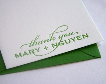 Personalized Stationery Letterpress Wedding Thank You cards - 1color - fifty cards