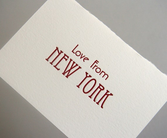 SALE - Letterpress Greeting Card - Love from New York