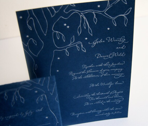 Tree Letterpress Wedding Invitation - Colorado Night