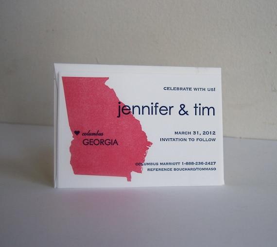 Custom Letterpress Save the Date - Destination Wedding map