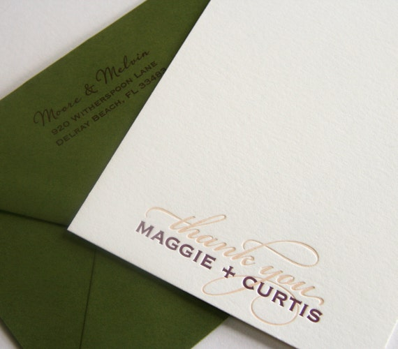 Letterpress Wedding Thank You card - 2color - fifty cards