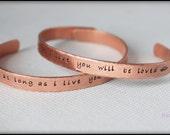 Hand Stamped Copper Cuff, Cuff Bracelet, Copper Bracelet, Copper Cuff, Custom Copper Cuff, Custom Cuff, Men's Cuff, Men's Bracelet, Mama Mia