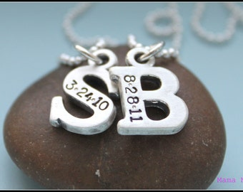 Chunky Initial Hand Stamped Necklace, Hand Stamped Initial Necklace, Sterling Silver Initial Necklace, Birthdate Necklace, Mama Mia Jewelry