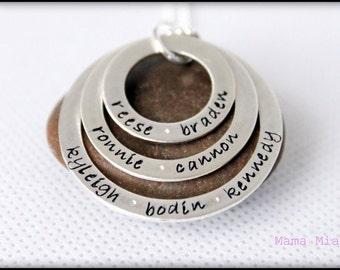 Hand Stamped Family Necklace, Stamped Name Necklace, Grandma Necklace, Washer Necklace, Layered Washer Necklace, Stacked Necklace, Mama Mia