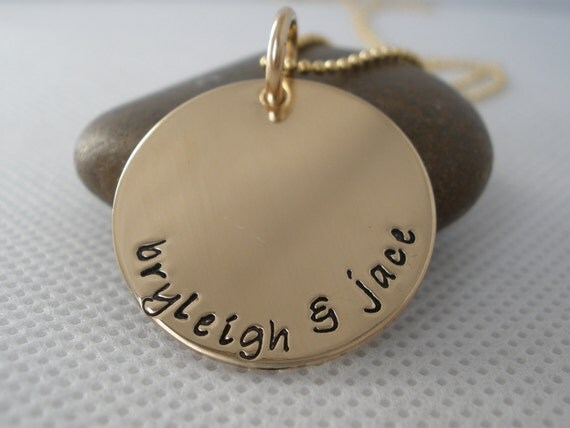 7/8 inch Gold Fill Disc Hand Stamped Necklace