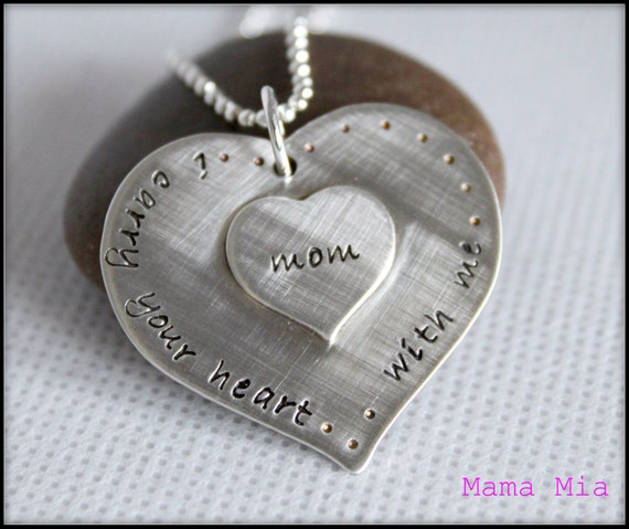 Two Hearts as One Hand Stamped Necklace