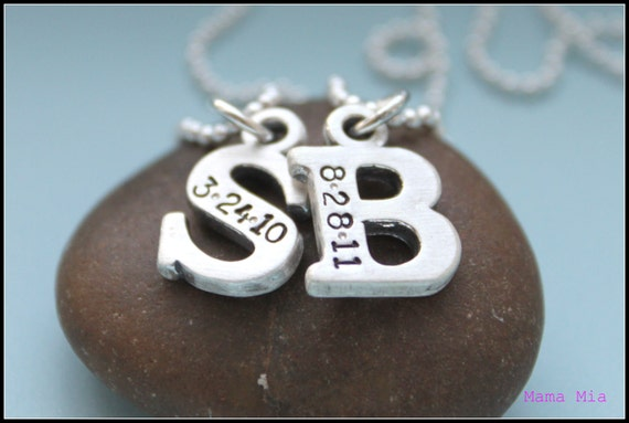 Two Chunky Initials Hand Stamped Necklace
