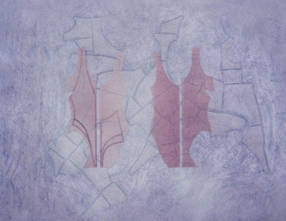"""Original Altered Monoprint """"Flesh"""" Hand-Pulled Collograph with Monotype, Chine Colle, Spray Paint, Graphite, and Chalk. Pinks & Purples OOAK"""