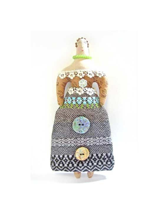 SALE Handmade one of a kind cloth folk art doll with handwoven skirt and handmade buttons