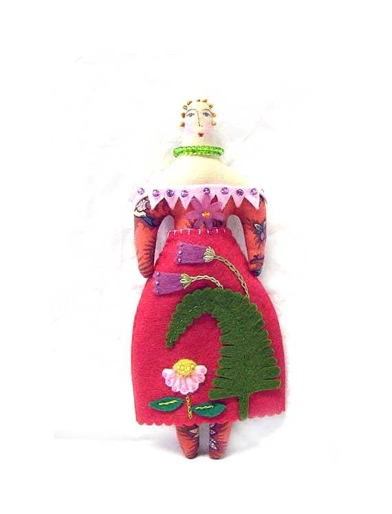 SALE Folk Art Doll with Fern Appliqued Skirt