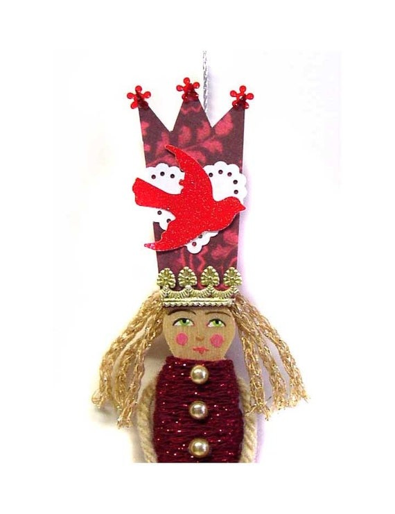 SALE Clothespin Queen Doll Ornament