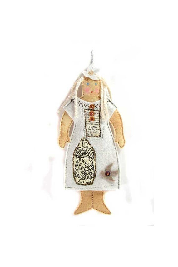 Cloth Doll Ornament with Collaged Dress