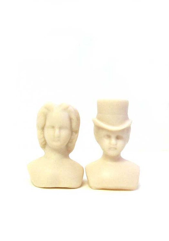 Lady and Man Unpainted Tiny Porcelain Doll Heads