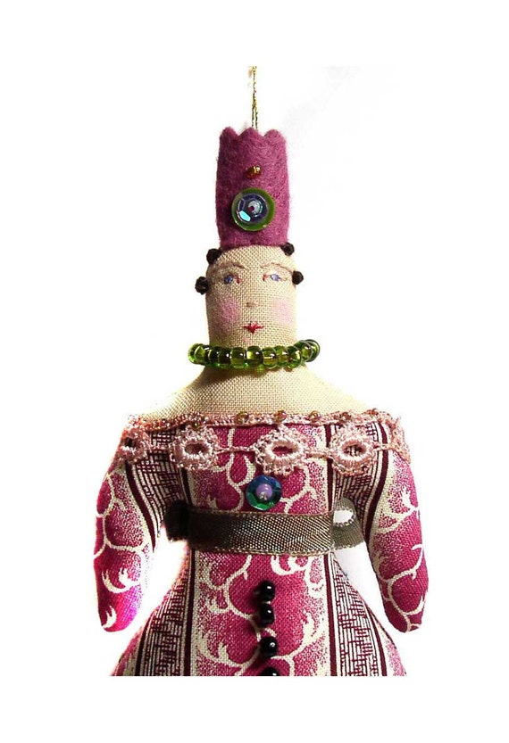 Whimsical Queen Cloth Doll Ornament