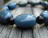 Cloudy Night- Teal and Black Bracelet