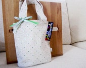 SALE - Natural with Little Green Polka-dots : Handbag