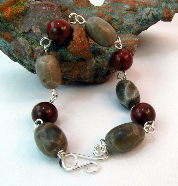 Petoskey Stone And Jasper Bracelet Made With Sterling By