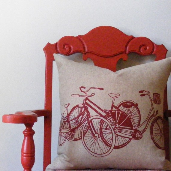 bikes pillow in red