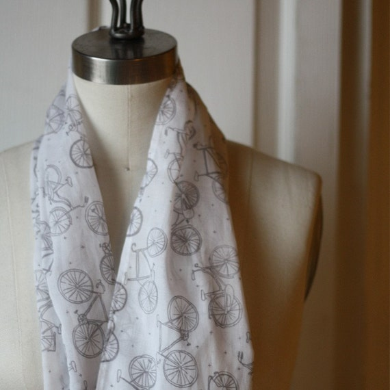 SALE - organic cotton scarf with little bikes