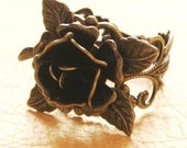 Dainty Brass Filigree Rose Ring WIth Leaves