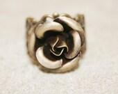 Dainty Brass Filigree Rose Ring
