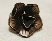 Statement  Brass Filigree Rose Ring