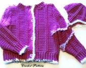 Girls Fisherman Cardigan  size 5/6 Crochet Patern pdf 320