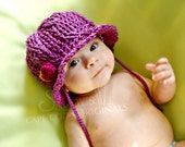 Cable Sun Hat Crochet Pattern pdf663 with instructional video for flowers