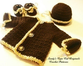 Chocolate Brown Layette Set Crochet pattern for Boys or Girls PDF 207