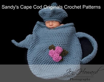 I am a Little Teapot Cocoon and Hat Crochet Pattern  PDF 241