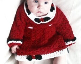 Christmas Baby Crochet Pattern for Princess Crown, Dress, and Maryjane Booties PDF 226