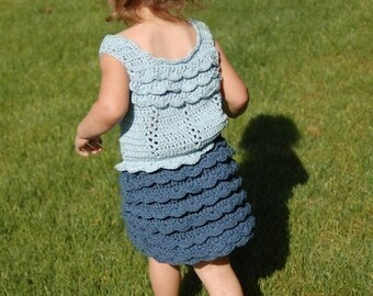 Cotton Ruffled Skirt and Top 2T to 4T 119 PDF Crochet Pattern