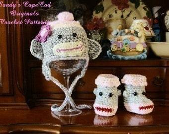 Girls Crochet Sock Monkey Hat and Booties Crochet Pattern  PDF 409