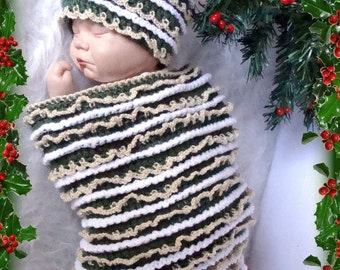 Christmas Tree Cocoon and Hat crochet pattern pdf 511