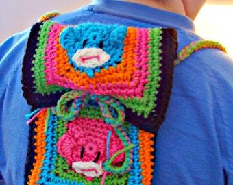 Retro Sock Monkey Backpack Crochet Pattern pdf526