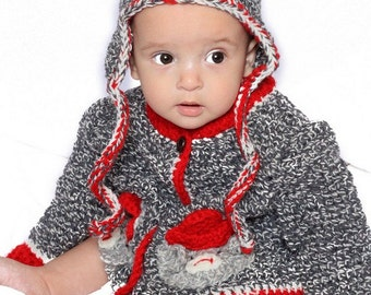 Sock Monkey Cardigan and Hat Crochet Pattern pdf 523