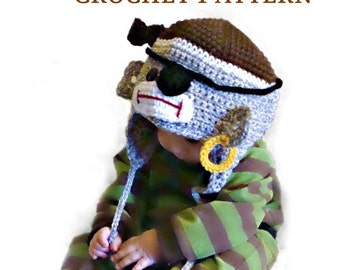Pirate Sock Monkey Hat to crochet pattern pdf542 infant to adult sizes
