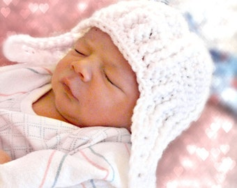 Newborn Cable Fisherman Earflap Hat Crochet Pattern PDF 114B