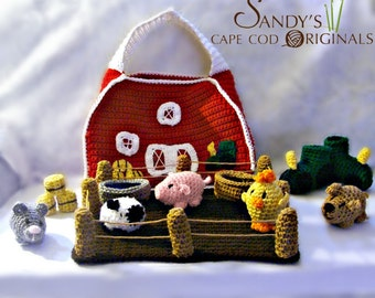 Child Safe Playset Crochet Pattern Barn Yard Set with Tractor Slippers PDF 625