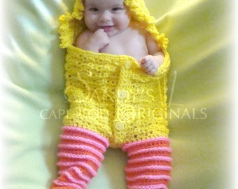 Large Yellow Bird Cocoon with legs pdf661 digital crochet pattern permission to sell you items