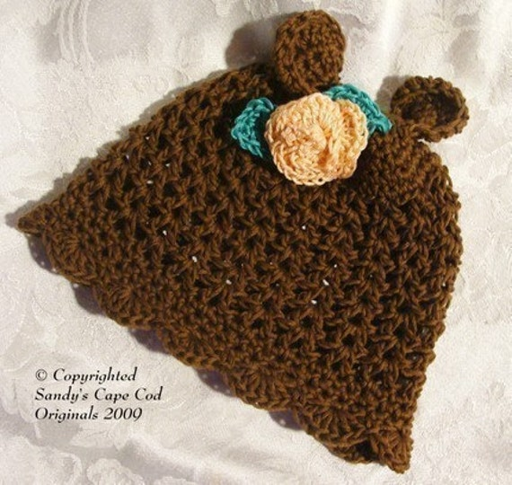 Infant to Adults Cute Cotton Bear Scallop Beanie Crochet Pattern PDF 128