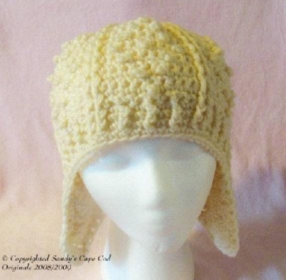 Unisex Cable Fisherman Earflap Hat crochet pattern pdf 114 Adult size only