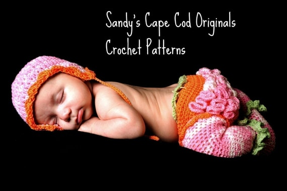Baby Leg Warmers with Attached Feet Warmers  Diaper Cover and Earflap Hat Crochet Pattern 192 Great Photo Prop