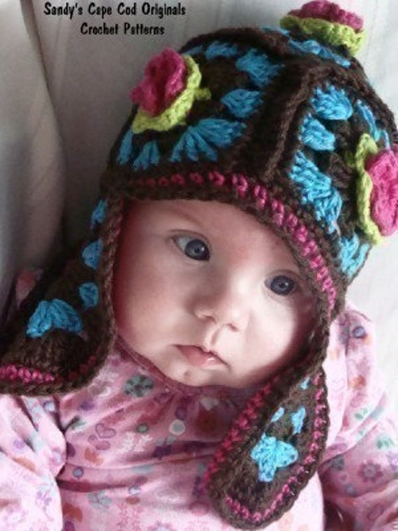 Infant to Adult sizes Not your Granny's Earflap Hat Crochet Pattern pdf 205