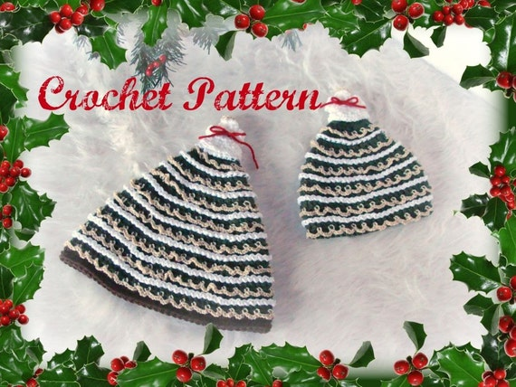 Christmas Tree Hats Crochet Patterns pdf509 infant to adult sizes