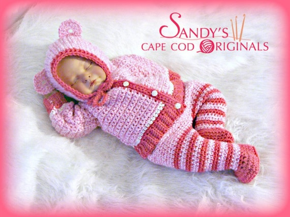 Animal Hooded Cardigan and Pants with Attached Booties Crochet Pattern PDF 639